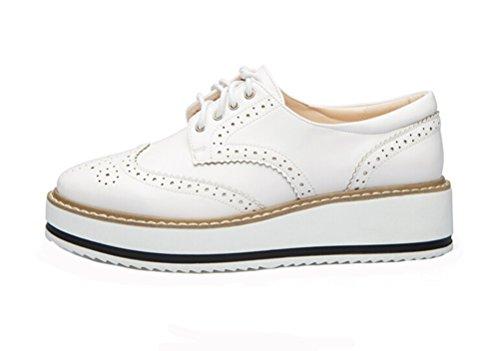 LAIKAJINDUN Womens Wing Tip Derby Shoe Lace Up Platform Brogue Work Shoe White GxMsP0Occ