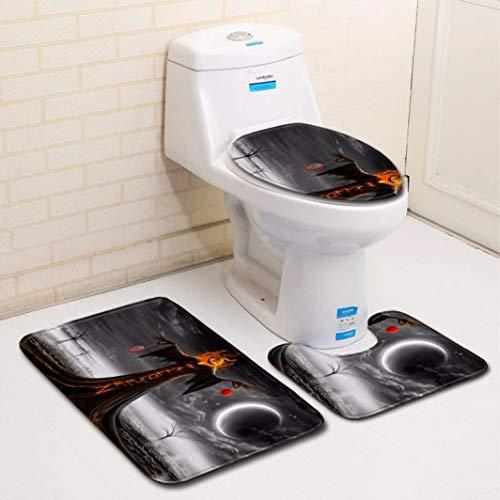 Hot Sale!DEESEE(TM)Halloween Pumpkin lantern Toilet Seat Cover and Rug Bathroom Set Halloween Decor (D)