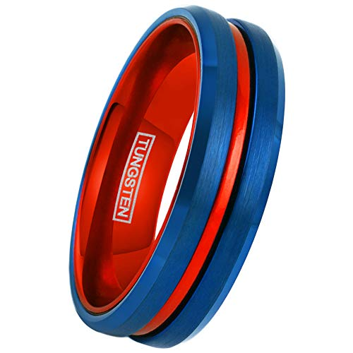 (King's Cross Super 8mm Blue Tungsten Ring w/Red Stripe & Red Anodized Aluminum Inner Band. (Tungsten (6mm), 7))