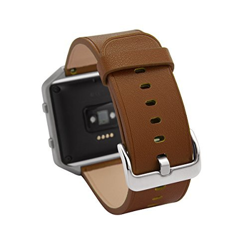 Smart Watch Band 23mm, Aisun Vintage Embossed Top-Grain Leather Watch Band Replacement Wrist Strap for Fitbit Blaze (Fitbit Blaze-Brown)