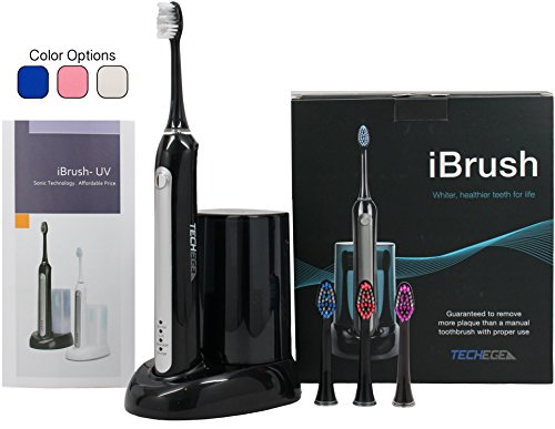 Electric Rechargeable Toothbrush-iBrush Elite SonicWave with UV Sanitizer (Black) 3 Extra Brush Replacements Included