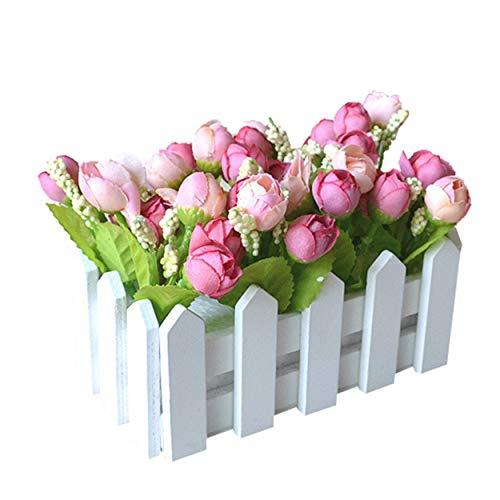 XuanMax Creativo Artificial Topiario Planta en Maceta Artificial Potted Plant Artificiales Flores Rosas Faux Cesped Verde...