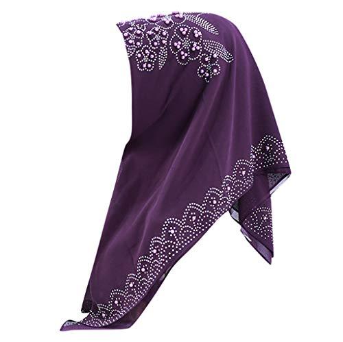 Tantisy ♣↭♣ Muslim Chiffon Turban Bead Sequins Islamic Fashion Long Plain Wrap Shawls Head Scarf for Women Purple