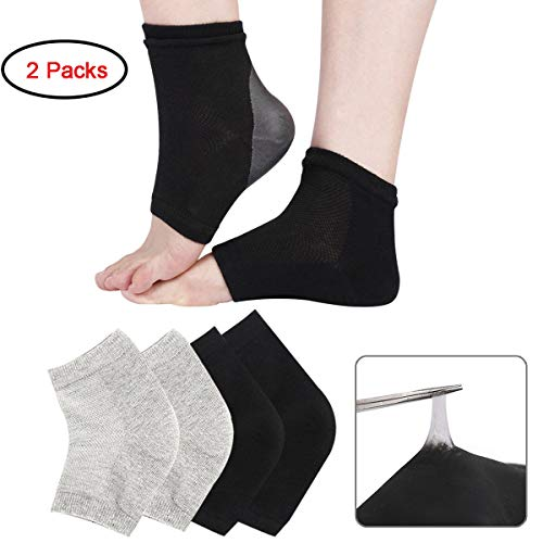 Exper 2 Pairs Moisturizing Heel Socks Gel Lined Toeless Spa Socks Day Night to Heal and Treat Dry Hard Cracked Heel,Damaged Cuticles and Calluses Skin (Black + Grey)