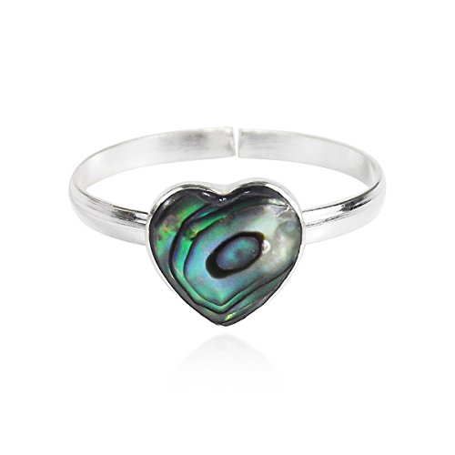(AeraVida Heart Peacock Abalone Shell .925 Sterling Silver Adjustable Toe Ring or Pinky Ring)