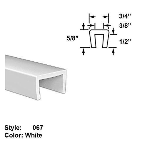 Food-Grade UHMW Plastic U-Channel Push-On Trim, Style 067 - Ht. 5/8'' x Wd. 3/4'' - White - 25 ft long by Gordon Glass Co.