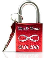 Geschenkfreude ABUS personalisiertes Liebesschloss mit Gravur und Schlüssel Valentinstag Edition/ideales Hochzeitsgeschenk/Partner Geschenke rot