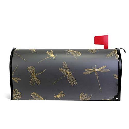 senya Magnetic Large Size Mailbox Cover Hand Drawn Dragonflies Pattern, Oversized