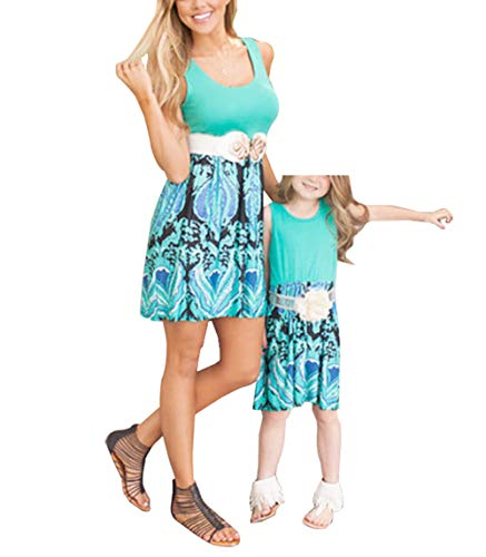 Qin.Orianna Mommy and Me Family Matching Clothes,Sleeveless and Floral Printed Sundress Outfits for Family Look (Mom 8-10, Blue)
