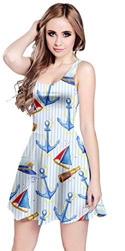 CowCow Womens Sailor Stripes Anchor Sleeveless Dress, Blue - XS