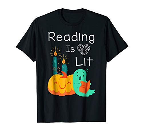 Teacher Librarian Halloween Costume Reading Is Lit Tshirts ()