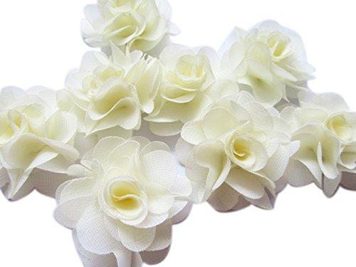 YYCRAFT Pack of 30 Chiffon Flower 2 Hair Flower Headband-Ivory