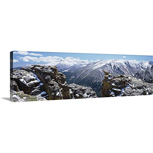 Canvas on Demand Premium Thick-Wrap Canvas Wall Art Print entitled Colorado, Rocky Mountain National Park, Panoramic view of snowcapped mountain range 60\