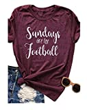 LONBANSTR Women Sundays are for Football Letter Printed T Shirt Casual Funny Top Tee (Medium)