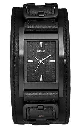 Guess , W85094G1 , Montre Homme , Quartz Analogique , Cadran Noir , Bracelet  Cuir Noir