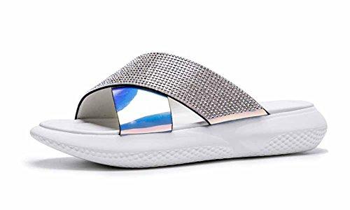 zeppa Bianca Outdoor toe Size Pantofole Scarpe piatti spessa estivi open spiaggia Large da Sandali casual Sandali dalla con suola da donna FqvwTRF
