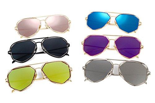 Lente con protege diseñador espejo color oro de de del sol la la de de color de DESESHENME con lentes marca gafas sol Rosa negros gafas lente hombres púrpura de oro borde Los borde de qxwx0PfA
