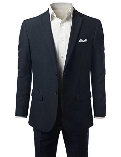 MONDAYSUIT Men 2-Piece Slim-Fit Solid 2-Button Blazer Jacket Trouser NAVY 40R