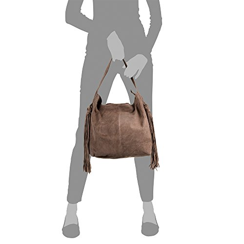 bolso Italiana Hombro Pelle Cuero Gamuza Piel Italy Made Genuino Firenze Shopping 42x34x12 Taupe Auténtica bolso bolso Cm Flecos Vera Color In Mujer Bag Artegiani De Rxc5wqzH
