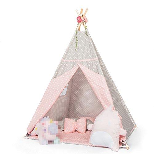 スロー兄荷物ZYH 室内テント、子供の男の子、女の子ゲームハウスソリッドウッドテントのベッドルーム子供部屋の読書コーナー110 * 110 * 160CM 広いスペース (色 : Pink)