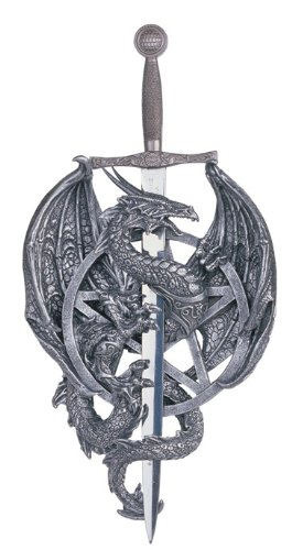 14.5 Inch Dragon Statue with Dagger Wall Plaque Figurine Figure Fantasy Myth