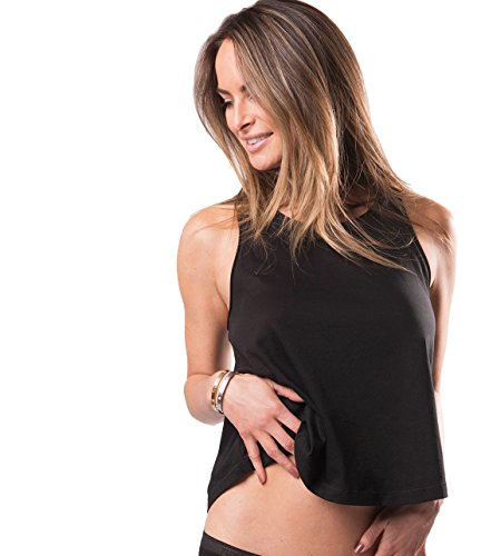 Naked Womens Soft Pima Cotton Stretch Cami Tank Tank with Lace Trim - Black, Small