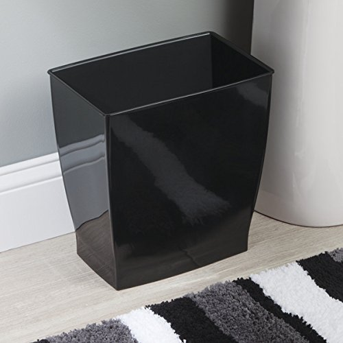 mDesign Rectangular Trash Can Wastebasket, Small Garbage Container Bin for Bathrooms, Powder Rooms, Kitchens, Home Offices - Shatter-Resistant Plastic, Black
