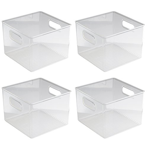InterDesign Kitchen Pantry and Cabinet Storage and Organization Bin, 8-Inch by 8-Inch by 6-Inch, 4 Pack, Clear