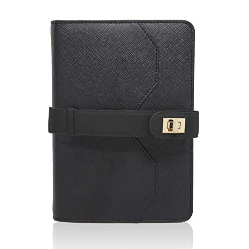 Aura Estelle Lock-It Notebook A5 Size | Planner | Agenda | Personal Organizer | Diary | Planner Cover| Leather Journal | Refillable Planner | Undated Planner (On The Rocks Black)