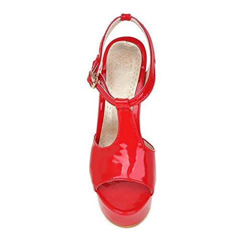 BalaMasa Girls High-Heels Solid Patent Leather Sandals Red b9W3Tx19G0