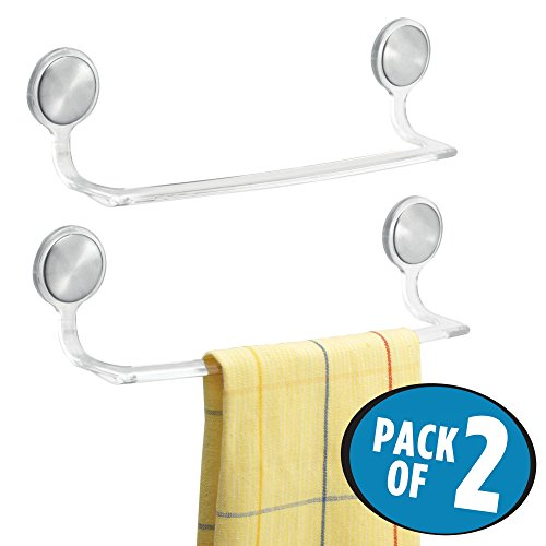 Plastic Towel Bar - mDesign Self-Adhesive Towel Bar Holder for Bathroom or Kitchen - Brushed Stainless Steel/Clear