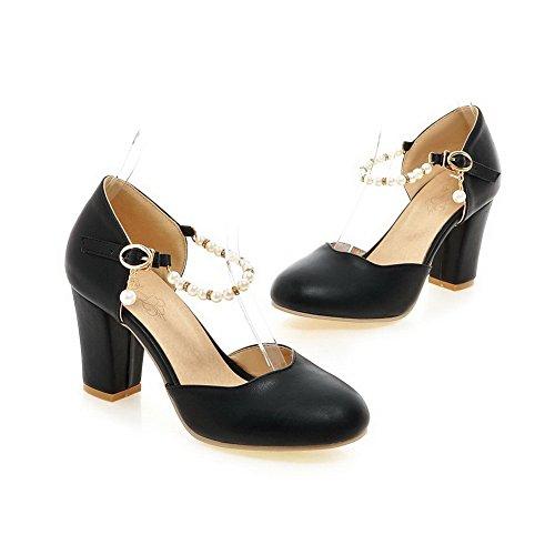BalaMasa Ladies Beaded Chunky Heels Buckle Urethane Pumps Shoes Black 70eEdMAt