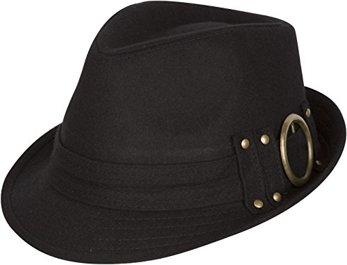 Sakkas 104FL Sammy Structured Wool Fedora Hat - Black - One Size