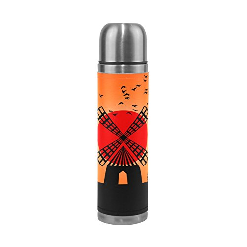 LEISISI Hand Painted Sunset Windmill Stainless Steel Water Bottle Leak-Proof Vacuum Insulated Flask Pot Sport Double Wall Water Bottle PU Leather Travel Thermal Mug 17 Oz