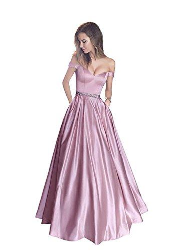 Satin Brautjungfernkleider Off Light Bainjinbai Damen Shoulder Pink Kleider Party Cocktail Abendkleider qtR7xZw