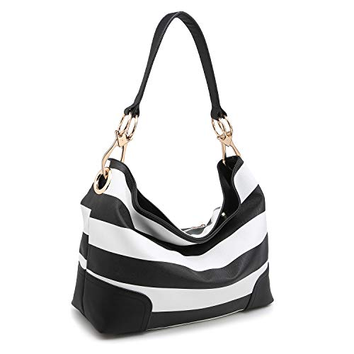 Dasein Women's Classic Faux Leather Hobo Purse Shoulder Bag Tote Handbag (7676- Black/White)