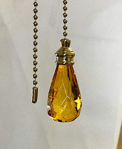 Set of 2 Gorgeous Amber Crystal Rain Drop Ceiling Lighting Fan Pulls Silver Chain