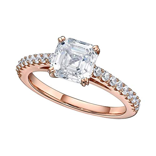NaNa Silver 7mm (2ct) Asscher Cut Swarovski Zirconia Solitaire Engagement Ring-Rose Gold Plated-Size 8