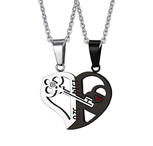 2PCS Stainless Steel Jigsaw Puzzle Heart Key Lock Love Couple Valentines Pendant Necklace Set with 22 Inch Chains, Black Silver