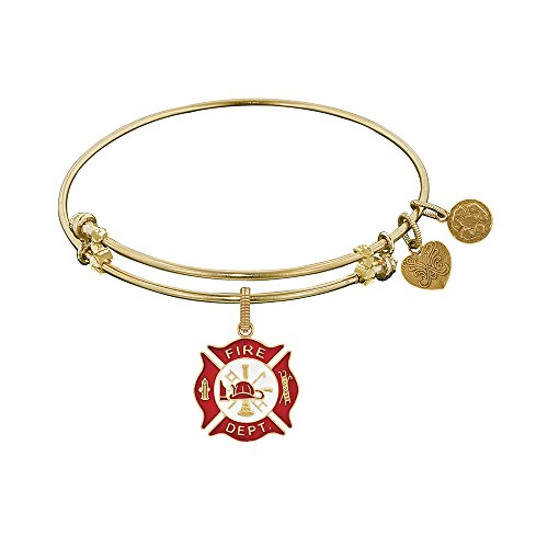 Angelica Yellow Tone Brass Fire Fighter Adjustable Bangle Bracelet - 7.25 Inches