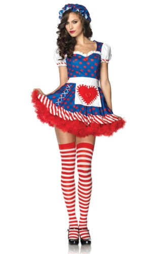 Leg Avenue Women's 2 Piece Darling Dollie Rag Doll Costume, Blue/Red, Medium