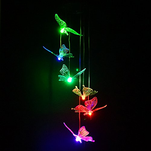 Butterfly Color Changing Solar Light Wind Chimes LED Multi-color Solar Mobiles Wind Spinner Night Light