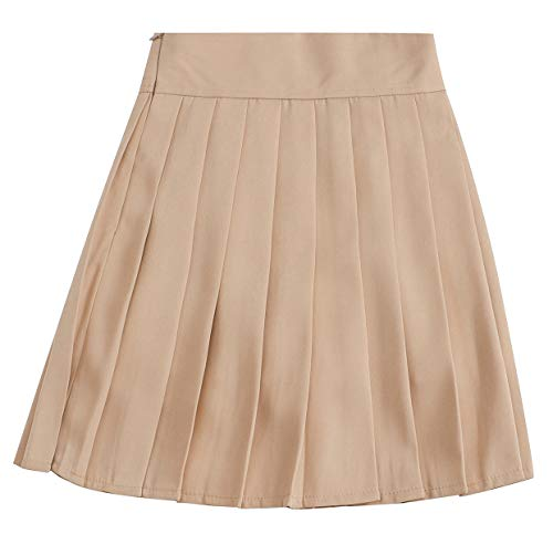 NAWONGSKY Women's Solid Plain High Waisted School Uniform Cosplay Costume Pleated Skirt, Khaki, Tag M = US - Shorts Pleated : Women Khaki