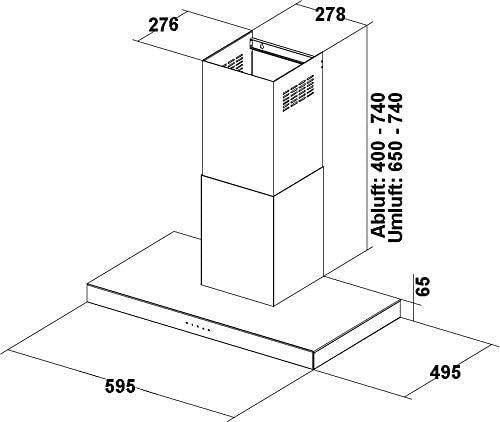 Diseño pared Campana Polo 60 cm en acero inoxidable con Negro Cristal Frontal campana circuito de sensor Touch Control con seguimiento automático Cocina iluminación halógena en recirculación umrüstbar Campana de cocina: Amazon.es: