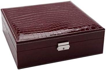 Zwei-Schicht-Baumwoll Schmuckkästen Schmuckzubehö Kosmetikspiegel Aufbewahrungsbox Display Aufbewahrungsbox bschließbarer Schmuck-Organizer mit Spiegel