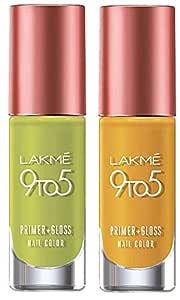Lakme 9 to 5 Primer + Gloss Nail Colour, Lime Treat, 6 ml & Lakme 9 to 5 Primer + Gloss Nail Colour, Mustard Master, 6 ml
