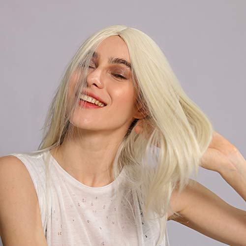 Tigivemen Elegant White Wigs Women's Long Cosplay Brazilian Women's Silk Long Straight Virgin Costume Wig]()