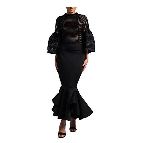 Beautiful Black Dress (VERWIN Bell Sleeve Fishtail Women's Party Cocktail Evening Bodycon Dress Mermaid Maxi Dress Black XL)