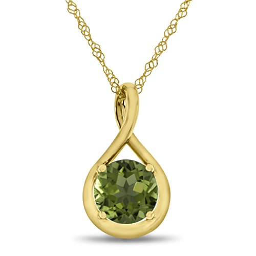 Finejewelers 7mm Round Peridot Twist Pendant Necklace Chain Included 10 kt Yellow ()