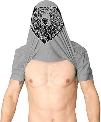 Crazy Dog T-Shirts Mens Grizzly Bear Flip T shirt Funny Bear Hug Shirt Humorous Novelty Tee for Men